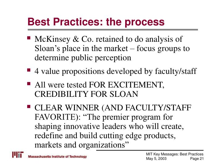 Best Practices: the process