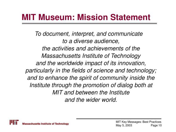 MIT Museum: Mission Statement