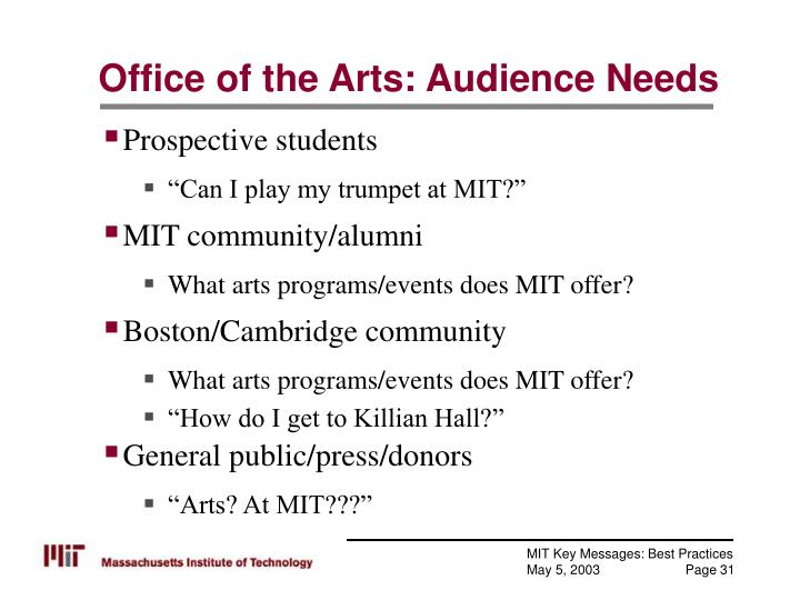 Office of the Arts: Audience Needs