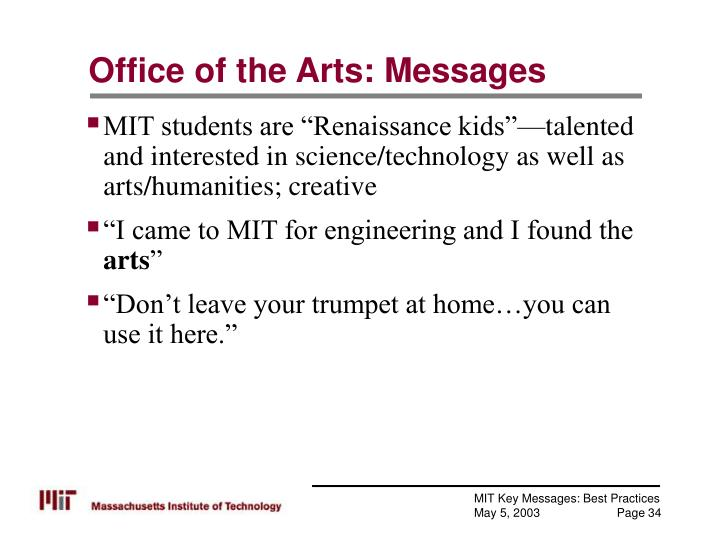 Office of the Arts: Messages