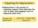 adjusting for depreciation