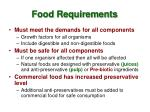 food requirements