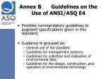 annex b guidelines on the use of ansi asq e4
