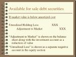 available for sale debt securities20