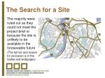 the search for a site1
