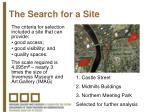 the search for a site2