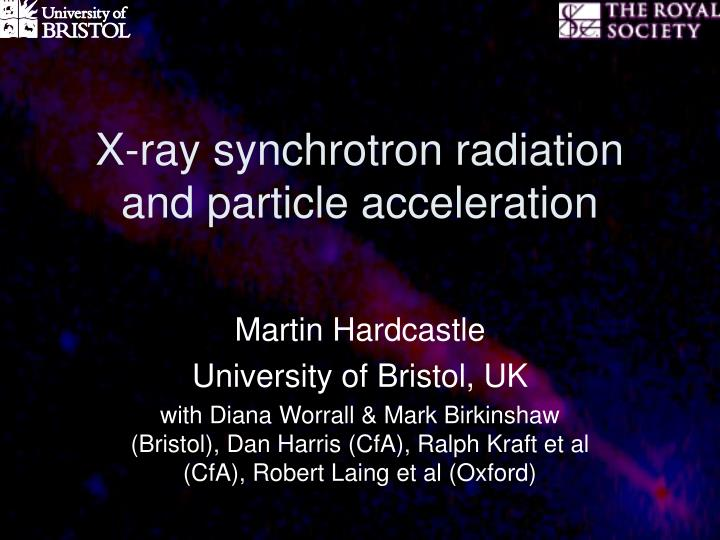 X ray synchrotron radiation and particle acceleration