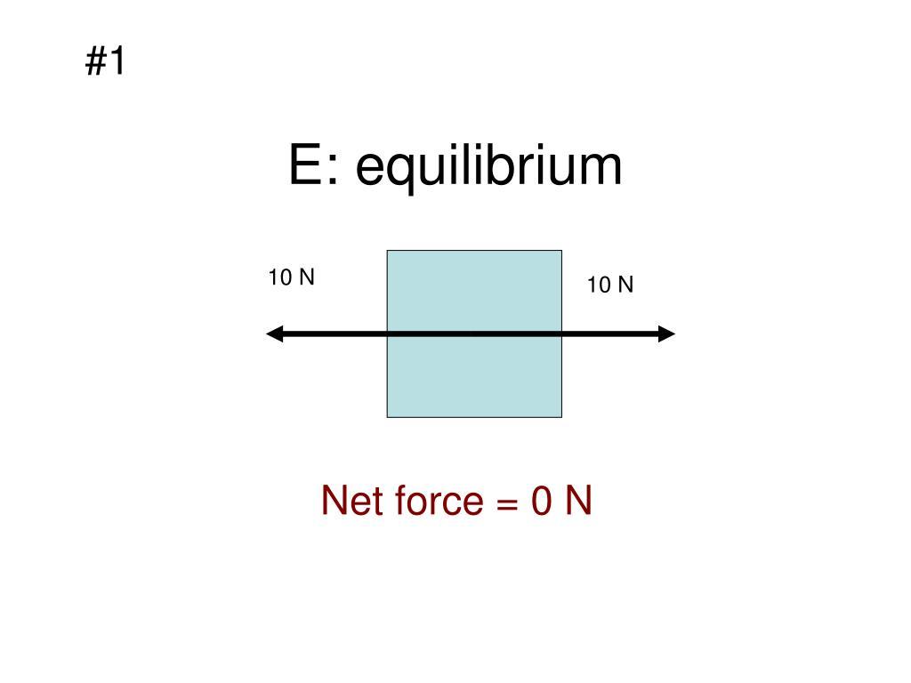 E: equilibrium