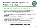 benefits identified by bureaus closing in 3 days