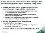 goal develop accelerated technique for ash loading dpfs that mimics long runs