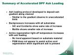 summary of accelerated dpf ash loading