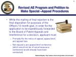 revised ae program and petition to make special appeal procedures