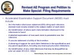 revised ae program and petition to make special filing requirements34