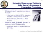 revised ae program and petition to make special processing examination procedures38