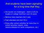 and students have been signaling for a long time that they