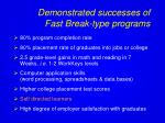 demonstrated successes of fast break type programs