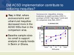 did acsd implementation contribute to reducing inequities