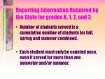 reporting information required by the state for grades k 1 2 and 313