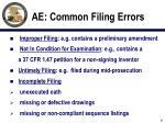 ae common filing errors
