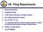 ae filing requirements
