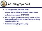 ae filing tips cont