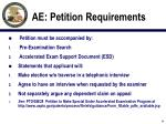 ae petition requirements