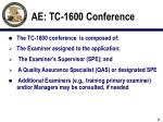 ae tc 1600 conference