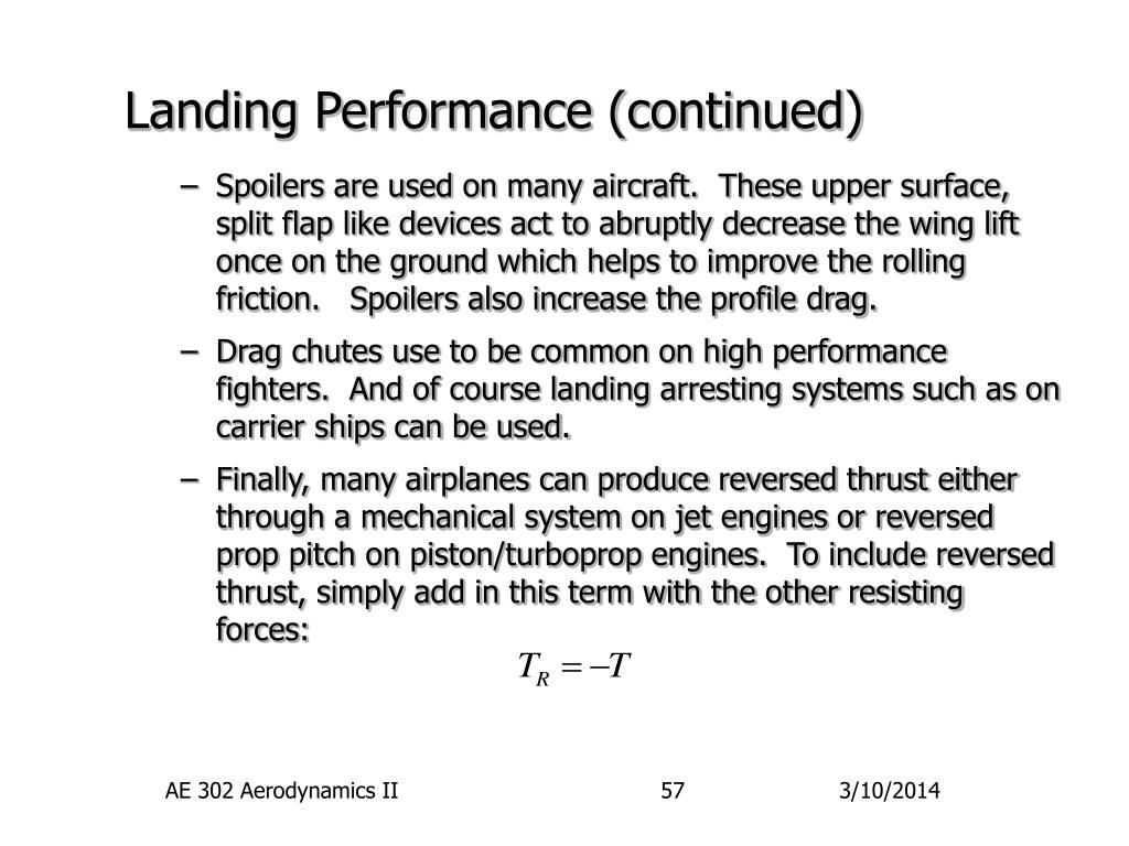 Landing Performance (continued)