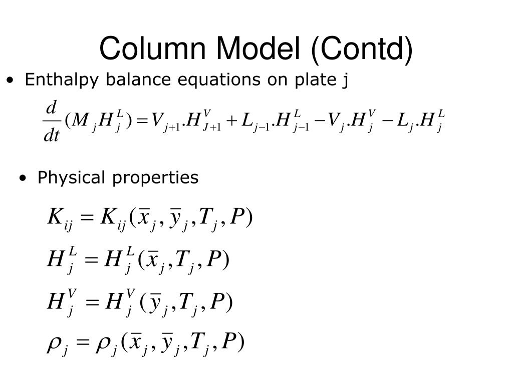 Enthalpy balance equations on plate j