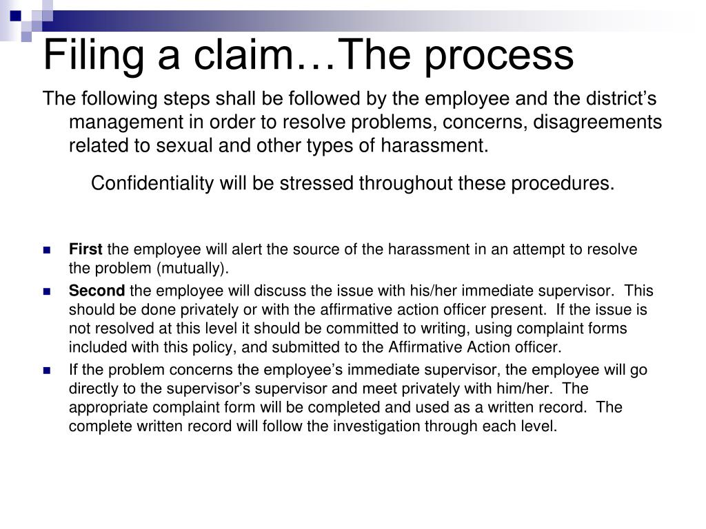 Filing a claim…The process