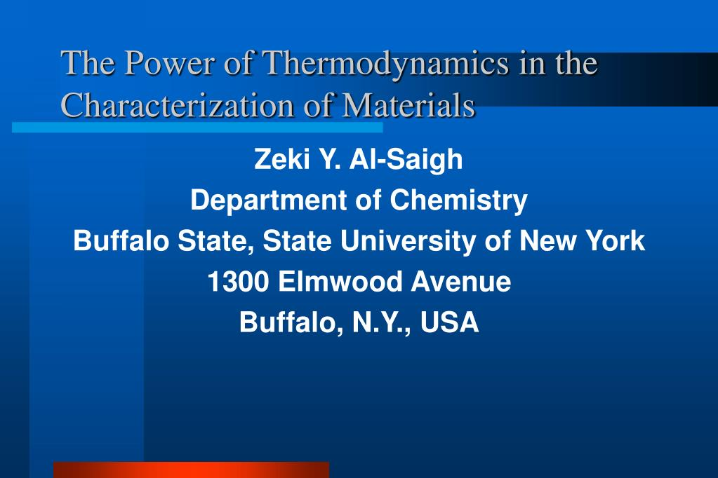 the power of thermodynamics in the characterization of materials l.