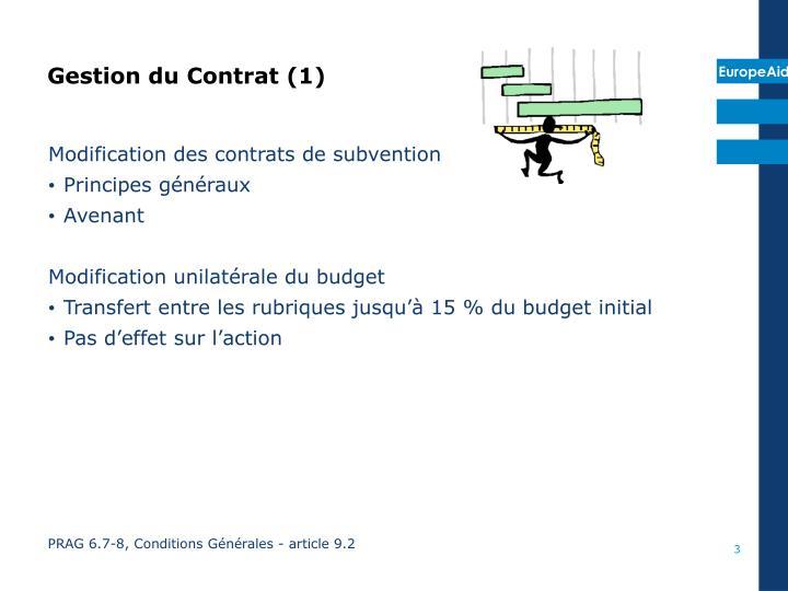 Gestion du contrat 1
