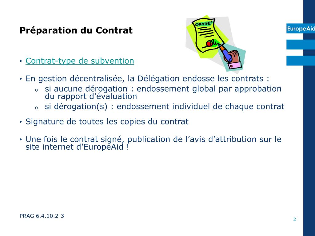Contrat-type de subvention