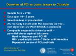 overview of pci vs lysis issues to consider