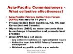 asia pacific commissioners what collective effectiveness