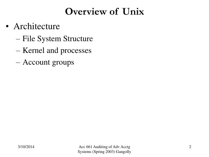 Overview of unix2