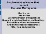 involvement in issues that impact the lake murray area