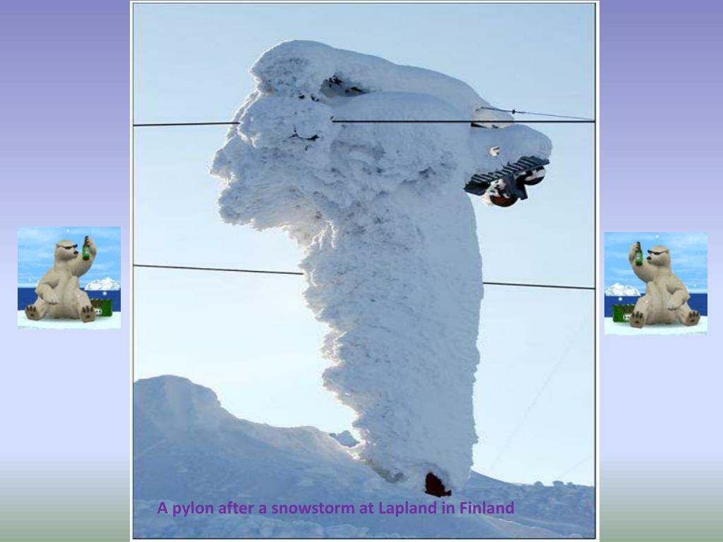 A pylon after a snowstorm at Lapland in Finland