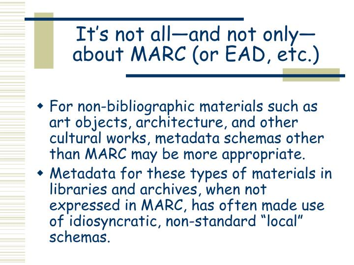 It s not all and not only about marc or ead etc