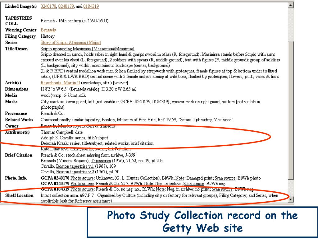 Photo Study Collection record on the Getty Web site
