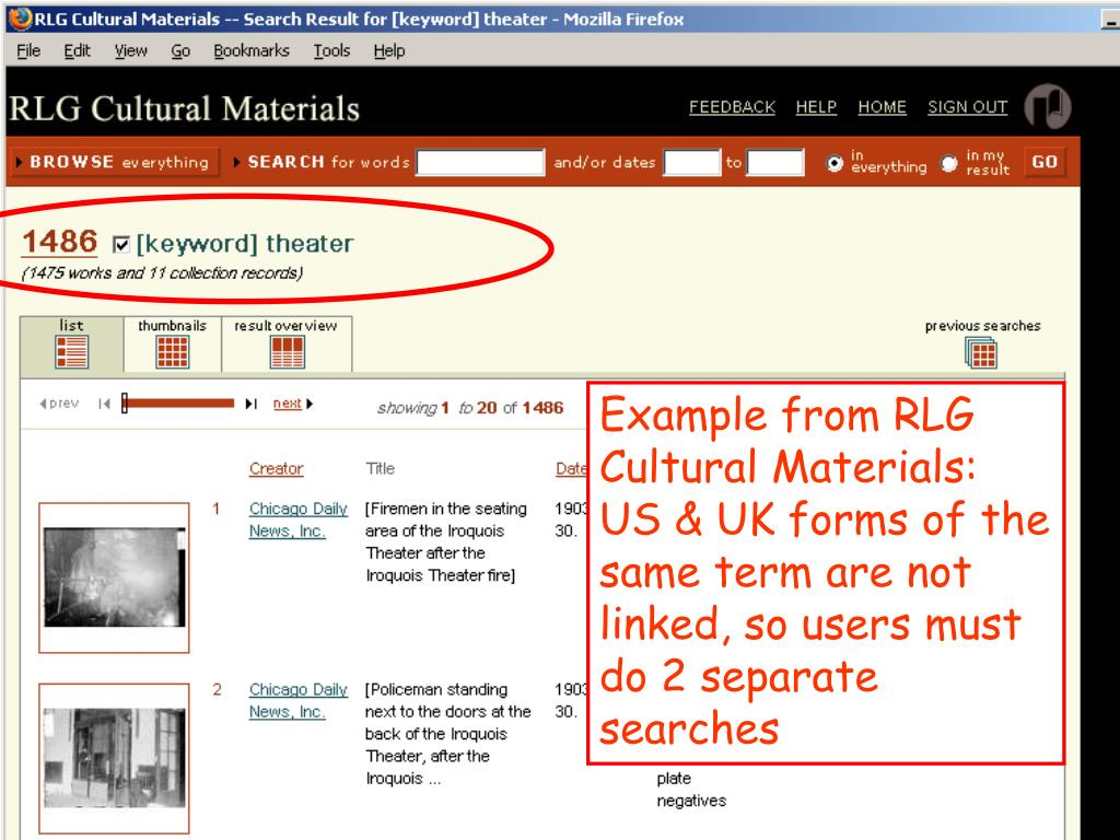 Example from RLG Cultural Materials: US & UK forms of the same term are not linked, so users must do 2 separate searches