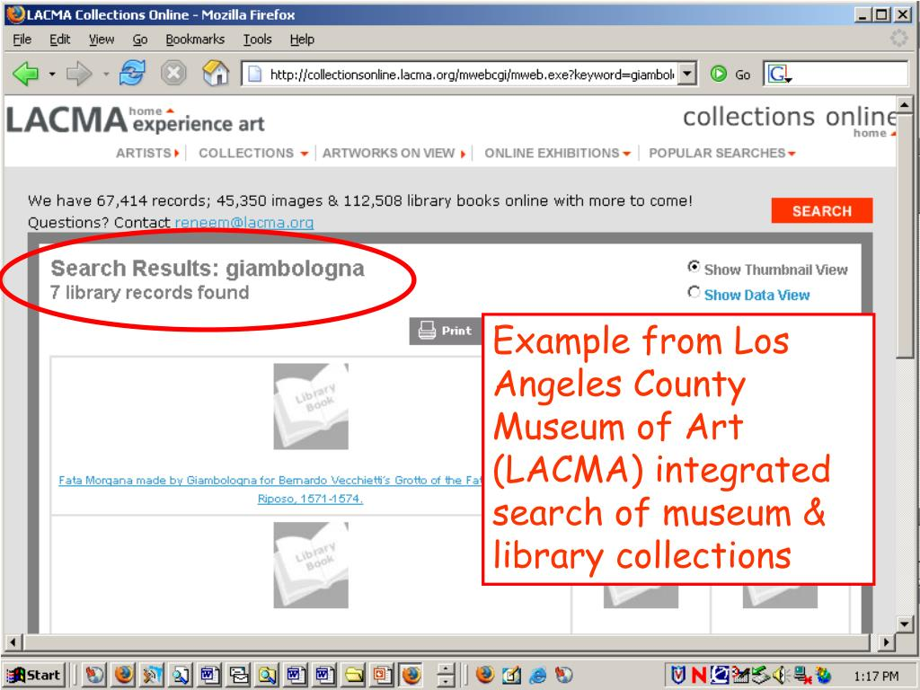 Example from Los Angeles County Museum of Art (LACMA) integrated search of museum & library collections