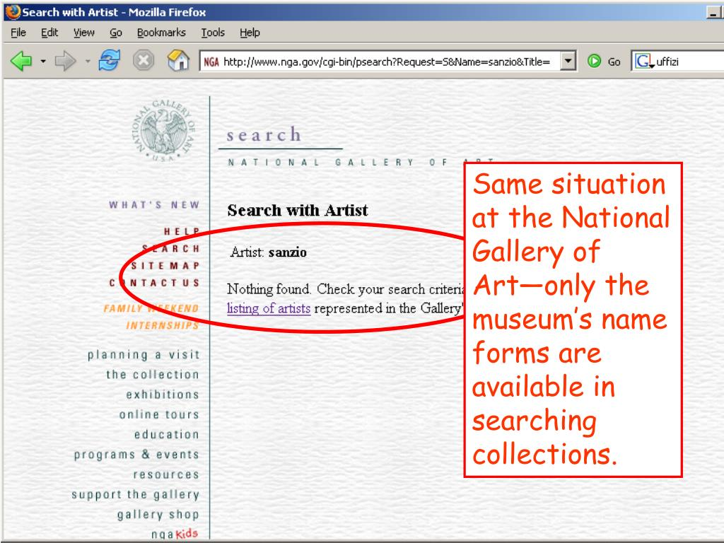 Same situation at the National Gallery of Art—only the museum's name forms are available in searching collections.
