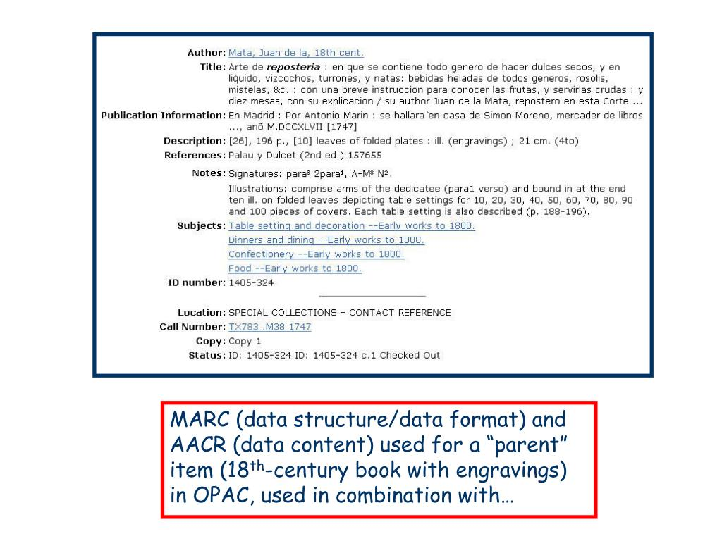 """MARC (data structure/data format) and AACR (data content) used for a """"parent"""" item (18"""