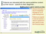 patients are educated with the same guideline content as their doctor specific to their diagnosis