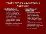 hostility toward government nationality