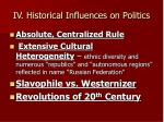 iv historical influences on politics