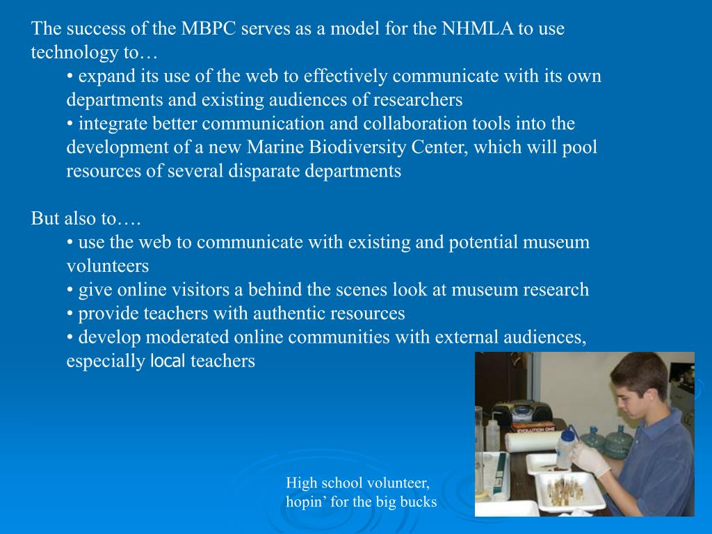 The success of the MBPC serves as a model for the NHMLA to use technology to…