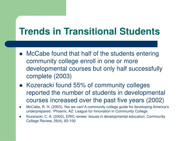 Trends in transitional students