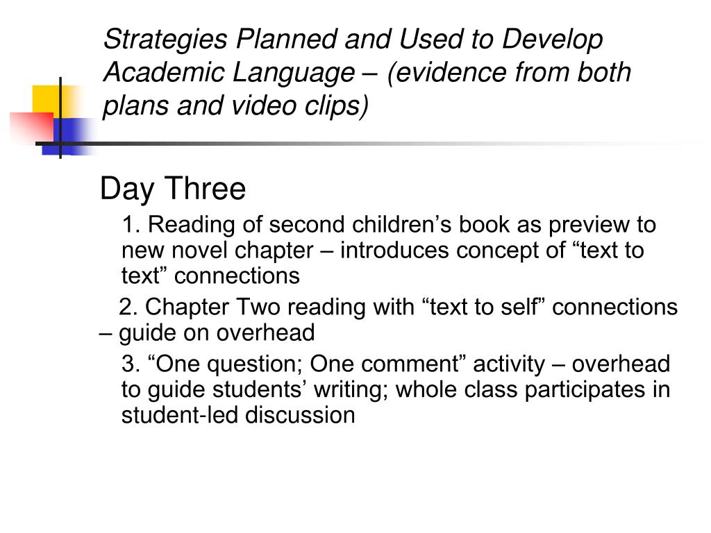 Strategies Planned and Used to Develop Academic Language – (evidence from both plans and video clips)
